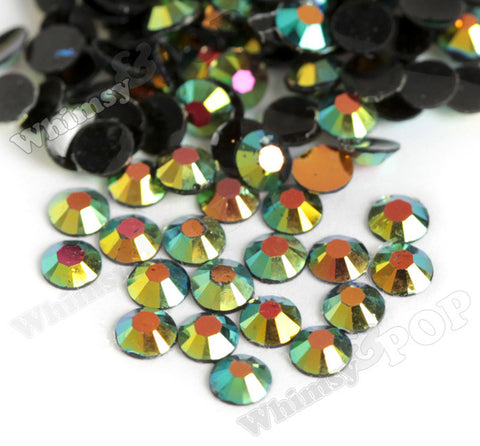 SS16 Green Vitrail Rainbow Crystal AB Faceted Flat Back Resin Rhinestones - WhimsyandPOP