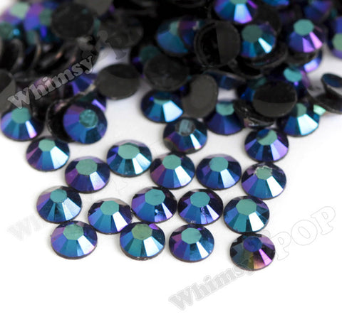 SS16 Black Blue Crystal AB Faceted Flat Back Resin Rhinestones