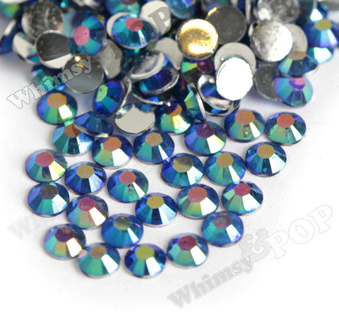 SS16 Montana Blue Crystal AB Faceted Flat Back Resin Rhinestones