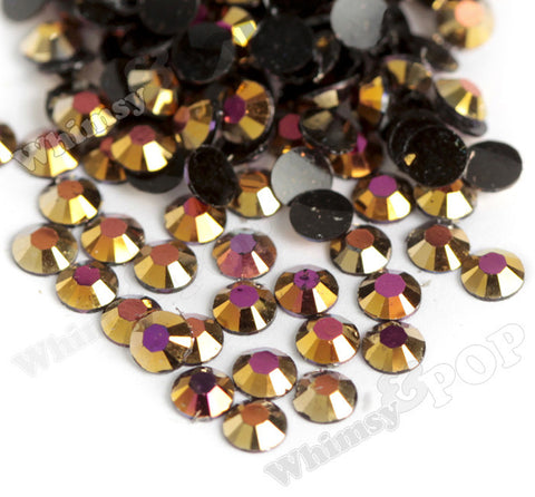 SS16 Warm Gold Crystal AB Faceted Flat Back Resin Rhinestones - WhimsyandPOP