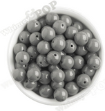 GRAY 16mm Solid Gumball Beads - WhimsyandPOP