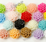 TEAL GREEN 10mm Honeycomb Mum Dahlia Flower Cabochons - WhimsyandPOP