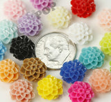 MIXED Color 10mm Honeycomb Mum Dahlia Flower Cabochons - WhimsyandPOP