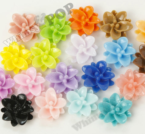 MIXED Color 12mm Small Lotus Flower Cabochons - WhimsyandPOP