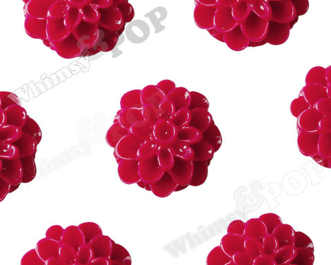 CRIMSON RED 13mm Dahlia Chrysanthemum Flower Cabochons - WhimsyandPOP