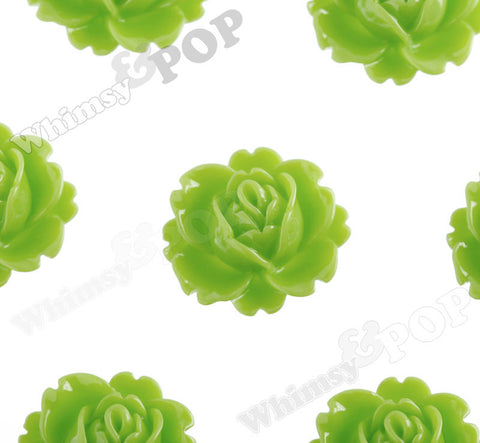 GREEN APPLE 18mm Peony Flower Cabochons - WhimsyandPOP