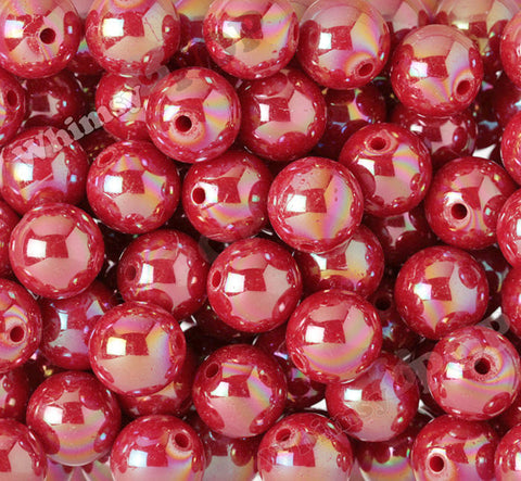 RED 20mm Glossy AB Gumball Beads - WhimsyandPOP