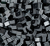 BLACK 8mm Striped Square Beads - WhimsyandPOP