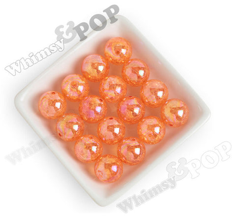 ORANGE 20mm AB Crackle Ice Cube Gumball Beads - WhimsyandPOP