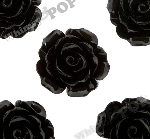 BLACK 20mm Large Detailed Flower Cabochons - WhimsyandPOP