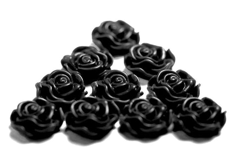 BLACK 13mm Classic Rose Flower Cabochons - WhimsyandPOP