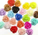 BLACK 10mm Rose Flower Cabochons - WhimsyandPOP