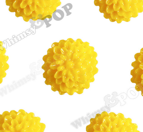 YELLOW 10mm Tiny Dahlia Flower Cabochons - WhimsyandPOP