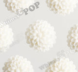 WHITE 10mm Tiny Dahlia Flower Cabochons - WhimsyandPOP