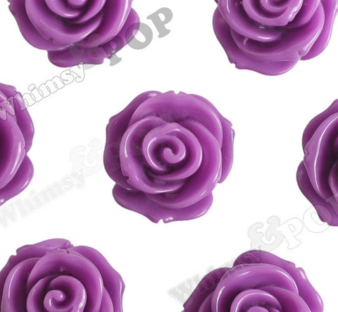 PURPLE 23mm Rose Bud Flower Beads