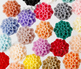 MIXED Color 13mm Dahlia Chrysanthemum Flower Cabochons - WhimsyandPOP
