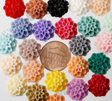 RED 13mm Dahlia Chrysanthemum Flower Cabochons - WhimsyandPOP