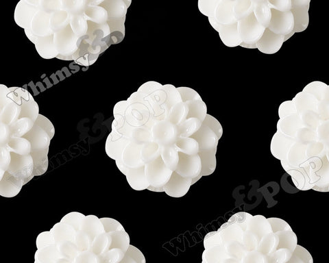 WHITE 13mm Dahlia Chrysanthemum Flower Cabochons - WhimsyandPOP