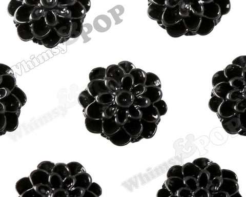 BLACK 13mm Dahlia Chrysanthemum Flower Cabochons - WhimsyandPOP