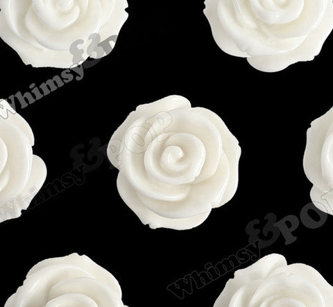 CREAM WHITE 23mm Rose Bud Flower Beads - WhimsyandPOP