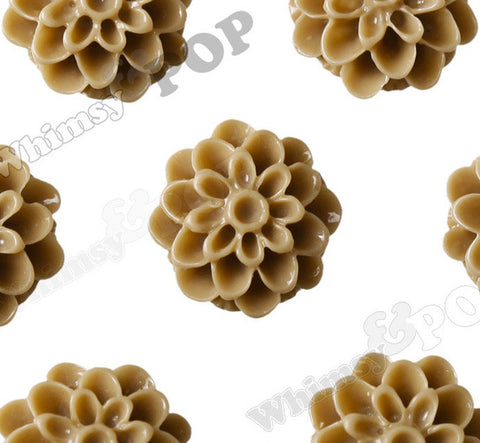 LATTE BROWN 13mm Dahlia Chrysanthemum Flower Cabochons - WhimsyandPOP