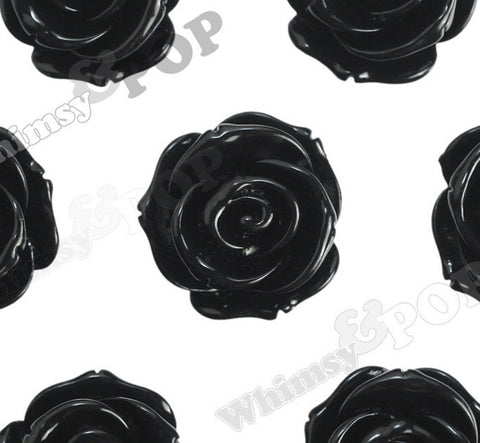 BLACK 23mm Rose Bud Flower Beads - WhimsyandPOP