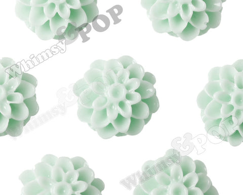 SEAFOAM GREEN 13mm Dahlia Chrysanthemum Flower Cabochons - WhimsyandPOP