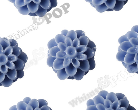 CORNFLOWER BLUE 13mm Dahlia Chrysanthemum Flower Cabochons - WhimsyandPOP