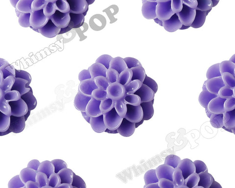 PURPLE 13mm Dahlia Chrysanthemum Flower Cabochons - WhimsyandPOP