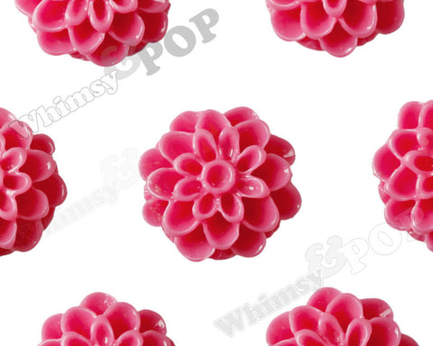 WATERMELON PINK 13mm Dahlia Chrysanthemum Flower Cabochons - WhimsyandPOP
