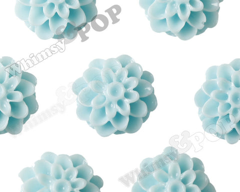AQUA BLUE 13mm Dahlia Chrysanthemum Flower Cabochons - WhimsyandPOP