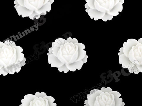 WHITE 18mm Peony Flower Cabochons - WhimsyandPOP