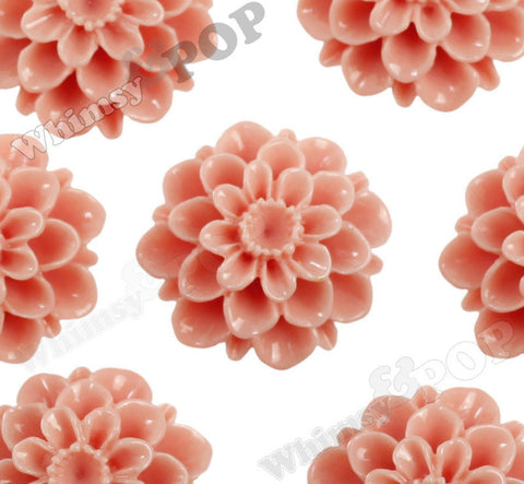 CORAL 20mm Dahlia Chrysanthemum Flower Cabochons - WhimsyandPOP