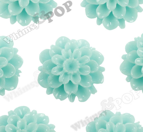 AQUA GREEN 20mm Dahlia Chrysanthemum Flower Cabochons - WhimsyandPOP