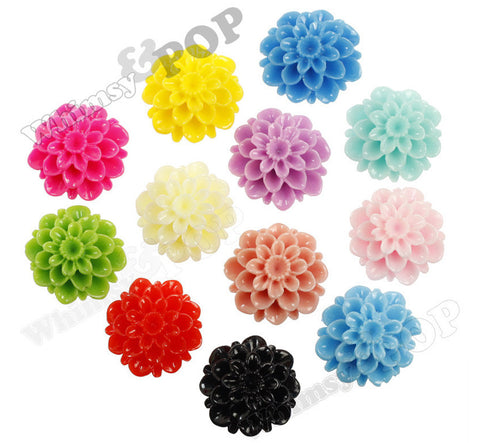 MIXED Color 20mm Dahlia Chrysanthemum Flower Cabochons - WhimsyandPOP