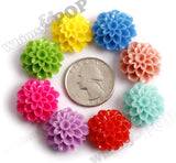 HOT PINK 20mm Dahlia Chrysanthemum Flower Cabochons - WhimsyandPOP