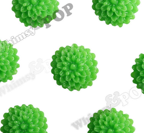 GREEN 10mm Tiny Dahlia Flower Cabochons - WhimsyandPOP