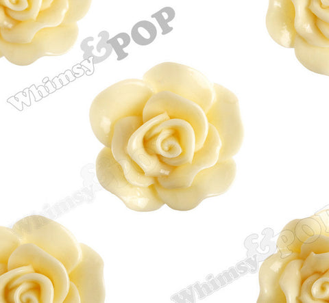 LIGHT YELLOW 28mm Begonia Flower Cabochons - WhimsyandPOP