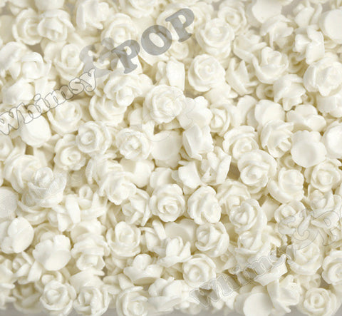 WHITE 7mm Teeny Tiny Flower Cabochons - WhimsyandPOP