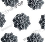 GRAY 15mm Dahlia Chrysanthemum Flower Cabochons - WhimsyandPOP
