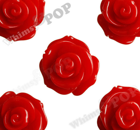 RED 23mm Rose Bud Flower Beads