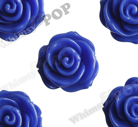 DARK BLUE 23mm Rose Bud Flower Beads - WhimsyandPOP