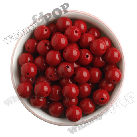 RED 16mm Solid Gumball Beads - WhimsyandPOP