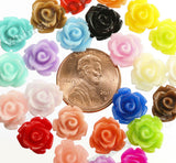 MIXED Color 10mm Rose Flower Cabochons - WhimsyandPOP