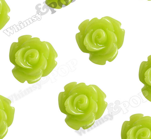 LIME GREEN 10mm Rose Flower Cabochons - WhimsyandPOP