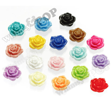 MIXED Color 16mm Pointy Rose Flower Cabochons - WhimsyandPOP