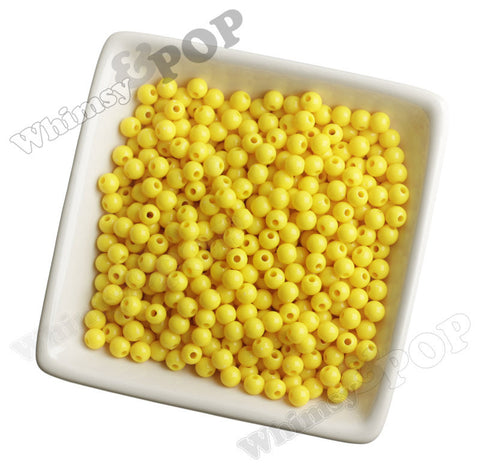 YELLOW 6mm Solid Gumball Beads - WhimsyandPOP