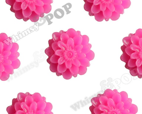 HOT PINK 13mm Dahlia Chrysanthemum Flower Cabochons - WhimsyandPOP