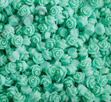 AQUA GREEN 7mm Teeny Tiny Flower Cabochons - WhimsyandPOP