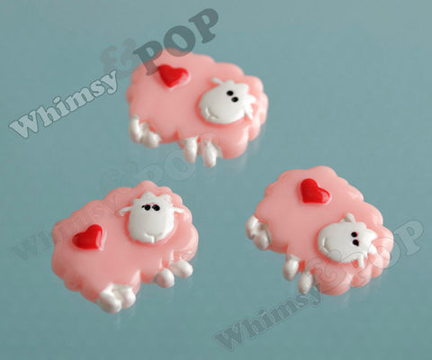 Pink Love Sheep Cabochons - WhimsyandPOP